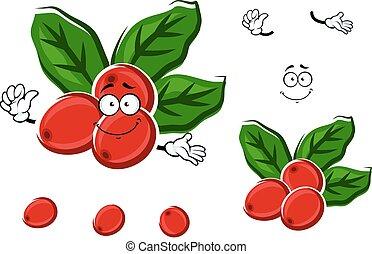 kawa, jagody, liście, czerwony, rysunek