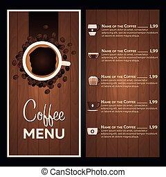 kawa, kawiarnia, menu., restauracja