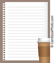 kawa, papier, notatnik