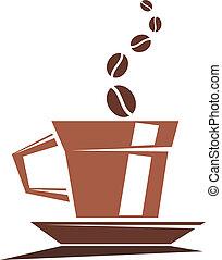 kawa, pełny, silny, piec, filiżanka