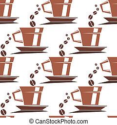 kawa, próbka, filiżanki, seamless