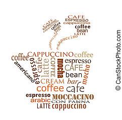 kawa, projektować, filiżanka