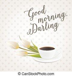 kawa, rano, filiżanka