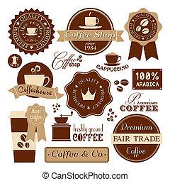 kawa, rocznik wina, etykiety