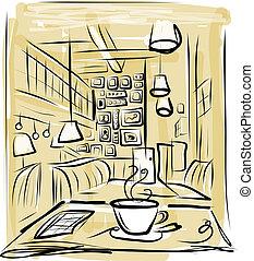 kawa, rys, rano, projektować, kawiarnia, twój