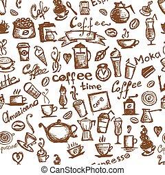 kawa, seamless, czas, projektować, tło, twój