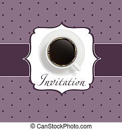 kawa, tło, zaproszenie