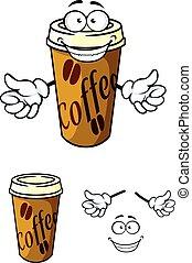 kawa, takeaway, filiżanka