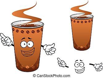 kawa, takeaway, litera, rysunek, filiżanka
