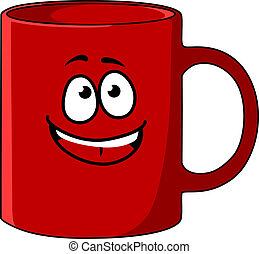 kawa, twarz, kubek, rysunek, czerwony, szczęśliwy