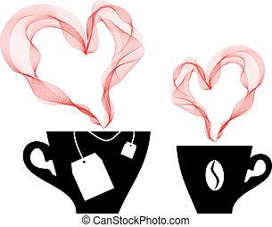 kawa, wektor, herbata