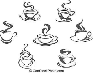 kawa wystawiają, frajerzy, ikony, albo, wektor, filiżanki, para