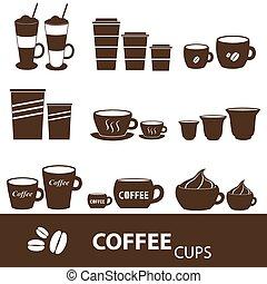 kawa wystawiają, frajerzy, ikony, sortuje, zmiany, eps10, filiżanki
