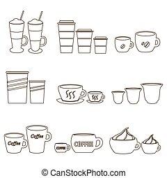 kawa wystawiają, frajerzy, szkic, ikony, sortuje, zmiany, eps10, filiżanki