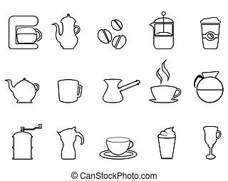 kawa wystawiają, linearny, ikona
