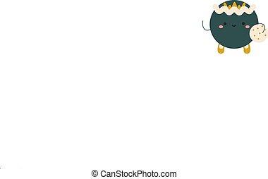 kawaii, character., mały, uśmiech, abstrakcyjny, potwór, malutki, zielony, stworzenie, radosny, face., sprytny, dodatni