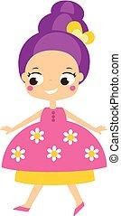 kawaii, sprytny, styl, dress., ilustracja, księżna, wektor, dziewczyna, rysunek, koźlę