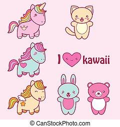 kawaii, sprytny, styl, komplet, labels., zbiór