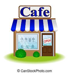 kawiarnia, front, ikona, wektor