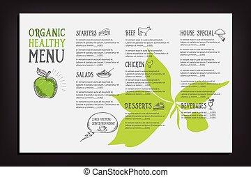 kawiarnia, szablon, menu, restauracja, design.