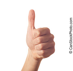 kciuk do góry, jeden, ludzka ręka, gesturing