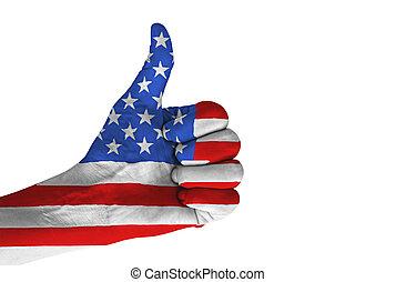 kciuk, flag., krajowy, do góry, ręka, amerykanka, gest, barwny