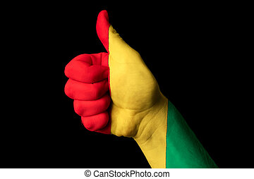 kciuk, gwinea, krajowy, do góry, bandera, doskonałość, gest, osiągnąć