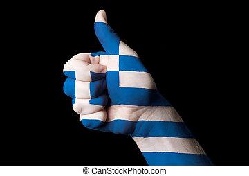 kciuk, krajowy, do góry, bandera, doskonałość, gest, grecja, osiągnąć