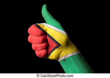 kciuk, krajowy, do góry, bandera, doskonałość, gest, gujana, osiągnąć