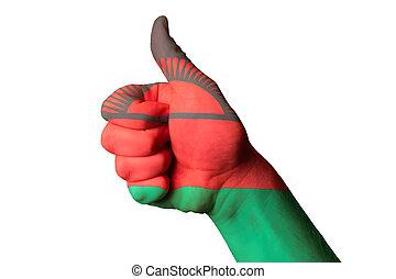 kciuk, krajowy, do góry, bandera, doskonałość, gest, malawi, osiągnąć