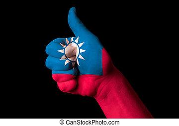 kciuk, krajowy, do góry, bandera, doskonałość, gest, tajwan, osiągnąć