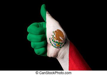 kciuk, meksyk, krajowy, do góry, bandera, doskonałość, gest, osiągnąć