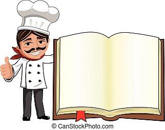 kciuk, odizolowany, do góry, mistrz kucharski, książka, czysty, kok, gest
