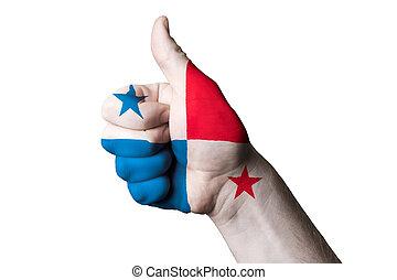 kciuk, panama, do góry, bandera, doskonałość, gest, krajowy, osiągnąć