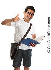 kciuki, kolegium, uniwersytet, szczęśliwy, student, do góry