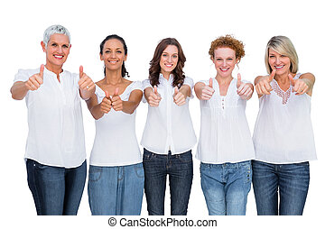 kciuki, przedstawianie, radosny, przypadkowy, wzory, do góry, razem