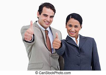 kciuki, salespeople, uśmiechanie się, abdykując