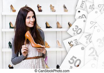 keeping, heeled, młody, sprzedaż, wysoki, kobieta, bucik