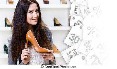 keeping, heeled, sprzedaż, wysoki, kobieta, bucik, ładny, oczyszczenie