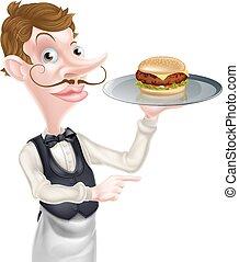 kelner, hamburger, spoinowanie