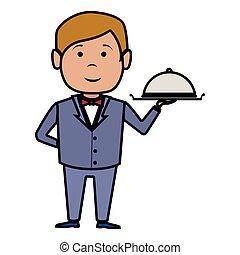 kelner, hotel, odizolowany, służba, ikona