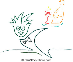 kelner, pije