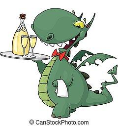 kelner, zabawny, butelka