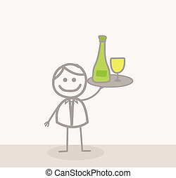 kelner, zabawny, :, doodle