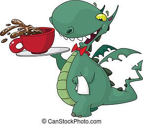 kelner, zabawny, kawa