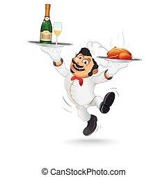kelner, zabawny, taca., jadło, wektor