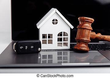 key., rozkaz, drewniany dom, sędzia, licytacja, pojęcie, albo, wóz, gavel
