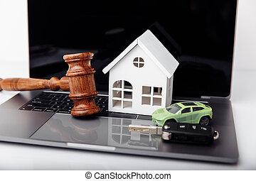 key., rozkaz, drewniany dom, sędzia, licytacja, pojęcie, wóz, gavel
