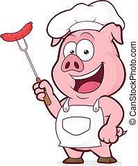kiełbasa, mistrz kucharski, dzierżawa, widelec, świnia