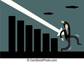 kiepski, market., wektor, biznesmen, symbolise, upadek, spadanie, atak, metafora, illustration., strzała, ekonomia, times., podczas